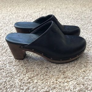 UGG Studded Black Leather Mule Clogs